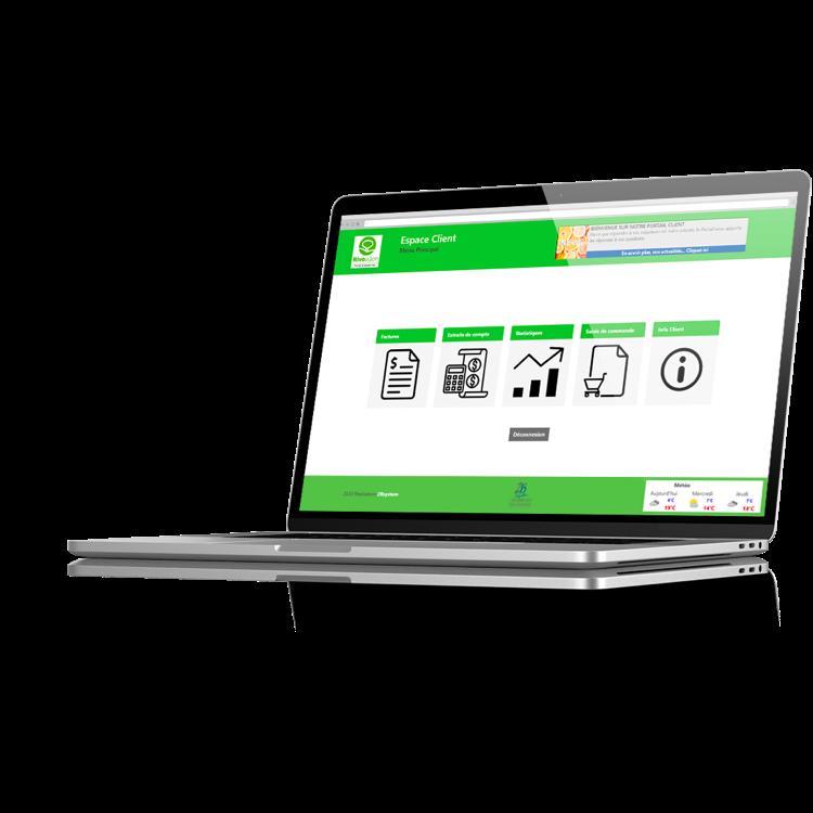 Portail web dédié, personnalisé et sécurisé avec les factures, extraits de compte et informations commerciales